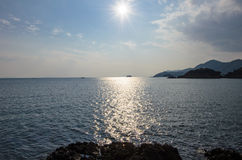 The sun shining on the Seto Inland Sea. Royalty Free Stock Images