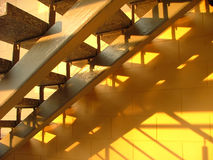 Sun shining on stairs. The sun shining on stairs and through them creating shadows Royalty Free Stock Photography