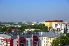 Panorama of the city of Lublin in Poland full of blocks and green trees. stock photo