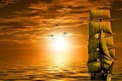 Sun, Ship, Gulls, Lake, Boot, Sky Stock Images