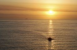 The Sun Showing The Way. The pilot is coming on a sunrise reflections near Mazatlan, Mexico Stock Photography