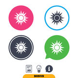 Sun sign icon. Solarium symbol. Heat button. Report document, information sign and light bulb icons. Vector Stock Images