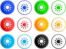 Sun sign icons. Collection of sun sign icons isolated on white Royalty Free Stock Image