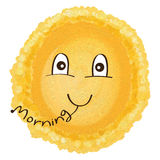 Sun sing morning cute. Illustration painting orange sun cute decor morning singing white color background royalty free illustration