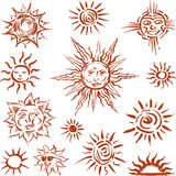 Sun sketshes. Vector image of the sun symbol in the style of the sketch Royalty Free Stock Photo