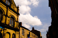 Sun on skipton buildings. A sunny glow on the town of skipton in yorkshire Royalty Free Stock Photography