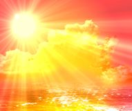 Sun and sky 01. Sky with sun and clouds background royalty free illustration