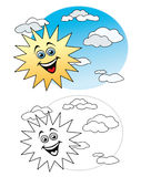 Sun in the sky. Laughing sun in the sky isolated over white background Stock Photo