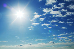Sun in sky. Sun in the blue sky Royalty Free Stock Images