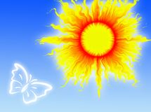 Sun in the sky. Colorful sun in a blue sky with a butterfly stock illustration