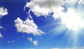 Sun and the sky. Beautiful sun rays and the blue sky Royalty Free Stock Images