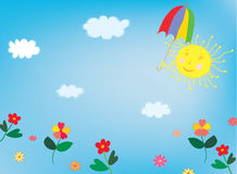 Sun and sky background for children Royalty Free Stock Photo