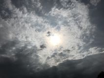The Sun on the sky. The sun on the blue sky with white clouds Royalty Free Stock Image
