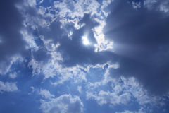 Sun  sky and clouds Stock Photography