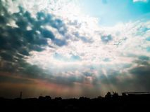 Sun and sky with clouds background royalty free stock image