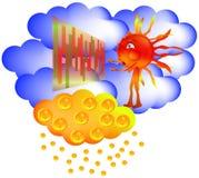 Sun sky Exchange winning golden rain Royalty Free Stock Photos