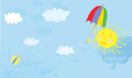 Sun and sky funny banner Royalty Free Stock Photo