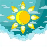 Sun in the sky. Good weather background. Vector Stock Photos