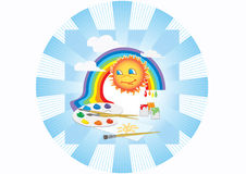 Sun rainbow palette. Sun in the sky with a rainbow and clouds. Palette with paints and brushes to paint Royalty Free Stock Photo