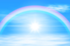 Sun in a the sky with rainbow Stock Photos