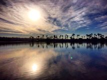 Reflection of sun on Mission Bay. The sun is reflecting on the water of mission bay at San Diego stock photo