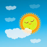 The sun is sleeping behind a cloud. children s Royalty Free Stock Photography