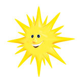 Sun smile. 3d rendering, yellow sun smile Royalty Free Stock Photos
