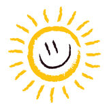 Sun Smile. Smiling yellow sun, happy and shining Royalty Free Stock Photo