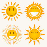 Sun smile. Set of icons of smiles of the sun. A  illustration Royalty Free Stock Image