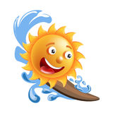 Sun smile cartoon emoticon summer ocean surfing emoji face vector icon. Sun smile or summer cartoon emoticon and emoji sunny face expression. Vector isolated Stock Photo
