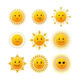Sun Smile Icon Set. Vector. Sun Smile Icon Set  on White Background. Vector illustration Royalty Free Stock Photos