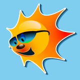 Sun with a smile. Illustration of the sun with a smile in the blue sky Stock Image