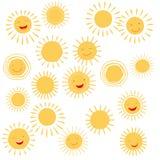 Sun smile symbols. Or sun face signs. Vector illustration Stock Photos