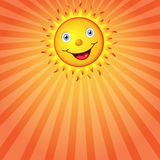 Sun with a smile. Vector image. Smiling Sun and sunbeams. Vector illustration Stock Image