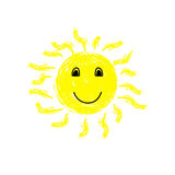 Sun with a smile on white background Royalty Free Stock Images