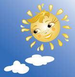 The sun smiles. Beautiful and kind sun's smile. A vector Royalty Free Stock Image
