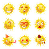 Sun smiles cartoon emoticons and summer emoji faces vector icons set Stock Photography