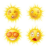Sun smiles cartoon emoticons and summer emoji faces vector icons set Royalty Free Stock Images