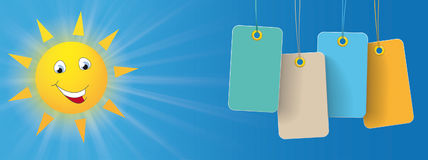 Sun Smiley Colored Price Stickers Header. Blue sky with sun smiley and colored price stickers Stock Images