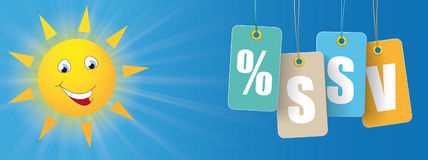 Sun Smiley Colored Price Stickers SSV Header. German text SSV, translate Summer Sale Stock Photo