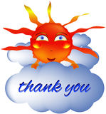 Sun smiley smiling thank you. Summer cloud Stock Images