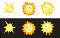 Sun smileys in white and black backgrounds. A set of isolated  sun smileys Stock Image