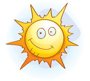 Sun Smiling. A cartoon yellow sun smiling and happy Royalty Free Stock Images