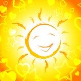 Sun Smiling Shows Cheerful Sunshine And Joyful Stock Photos