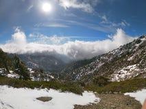Sun, snow, cloud royalty free stock photos
