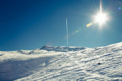 Sun and snow in the mountaines Royalty Free Stock Images