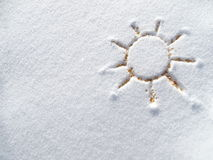Sun and snow once a friend Stock Images