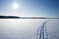Sun, snow and Ski track crossing a frozen lake Stock Images