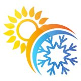 Sun and snowflake air conditioning symbol Stock Image