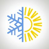 Sun and snowflake icon. Vector design illustration Royalty Free Stock Images
